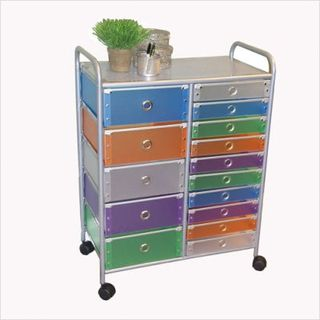 15+Drawer+Multi-Colored+Rolling+Storage+Tower