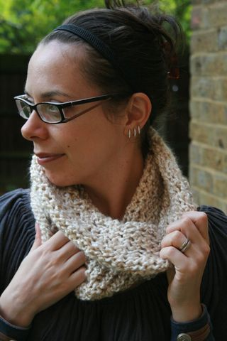 Loom knitted oatmeal cowl