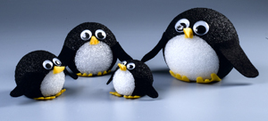 Penguine Family craft project from Styrofoam