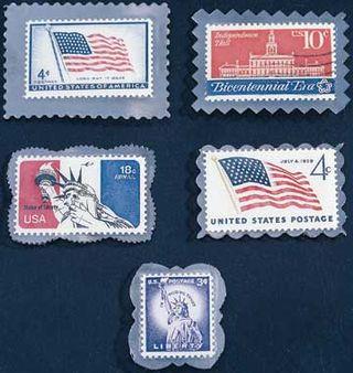 Postage stamp pins