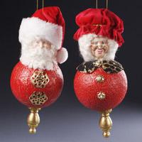 Santa and Mrs Claus Finial Ornaments