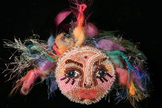 Beaded Face ornament by Colleen Babcock for sale