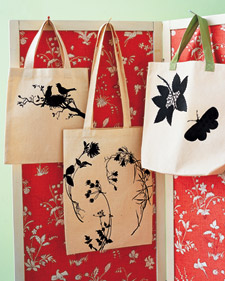 Silhouette tote bags from Martha Stewart