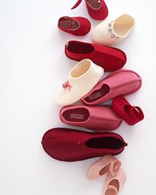 Jingle bell felt slippers by Martha Stewart
