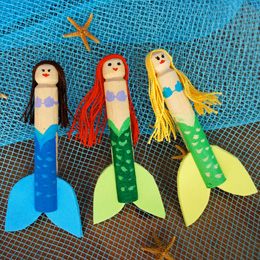 Clothes pin mermaid dolls