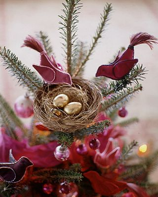 Fabric birds Christmas tree topper