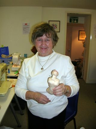 June with her doll body assembled