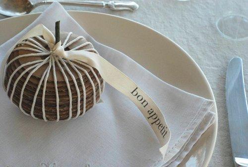 Cardboard gourd placesettings from Design Sponge