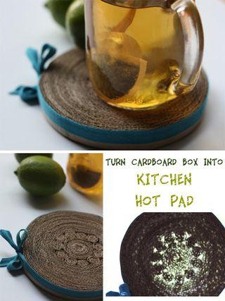 Cardboard box hot pad from Eva Foreva