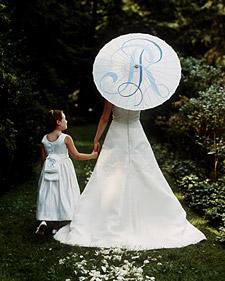 Wedding parasol with monogram detail