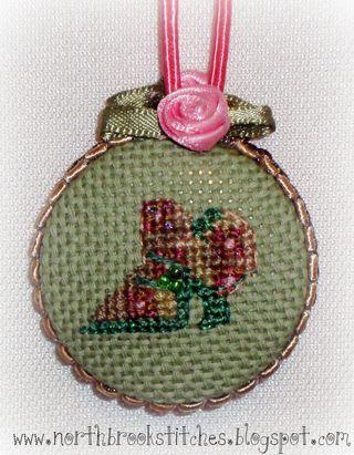 Historical fashion scissor fobs with cross stitch by Romona King