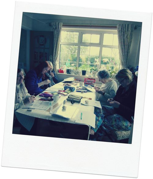 Cloth doll class at the kitchen table polaroid
