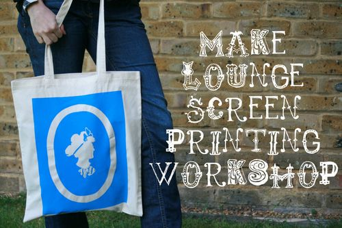 Screen Printed Bag with Silhouette from Make Lounge Workshop with text