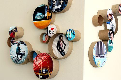 Cardboard tube photo frames
