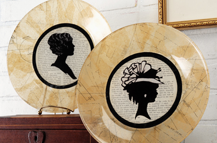 Vintage style plate tutorial with silhouettes