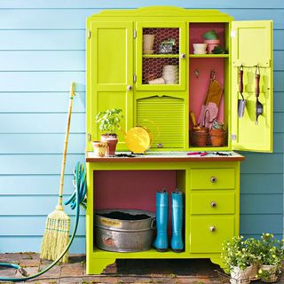 Potting shed from re-purposed furniture
