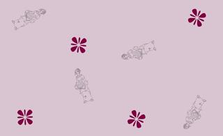 Gather Ye Rosebuds fabric lavender background example
