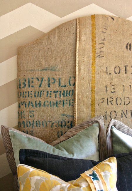 Coffee sack headboard tutorial from Jilly and Mia