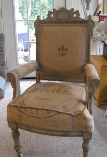 French grain sack reupholstered chair
