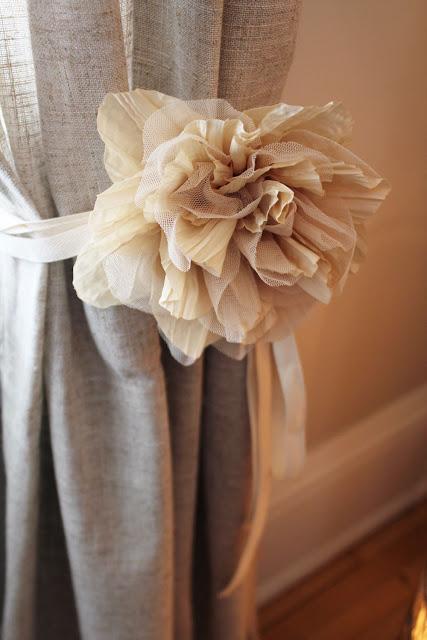Burlap flower drapery ties