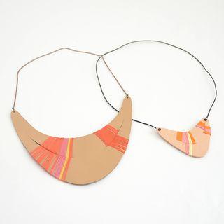 Leather colour block necklace