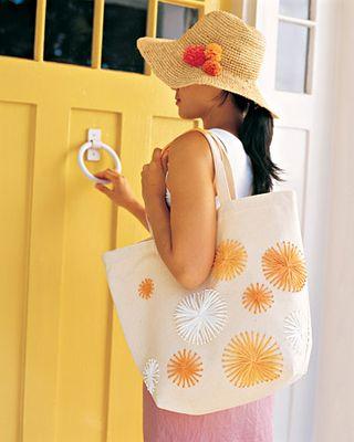 Raffia tote bag and hat