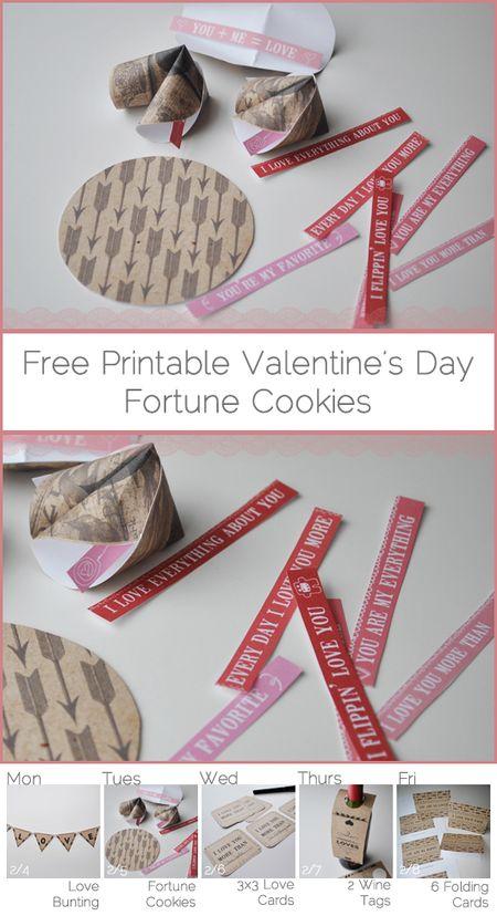Valentines fortune cookie printable