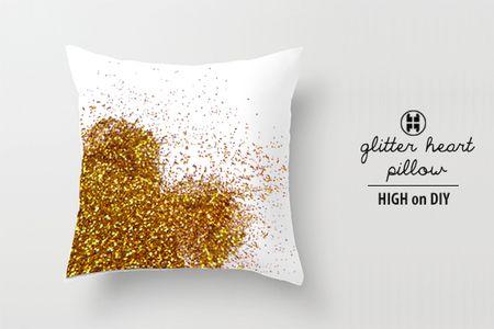 Heart glitter pillow