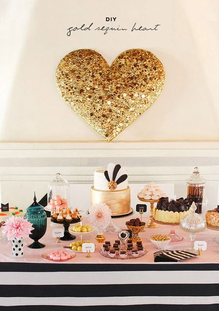 Heart wall decoration with sequins