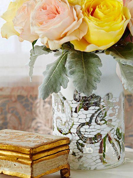 30 minute craft lace jar vase