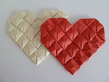 Heart origami decorations