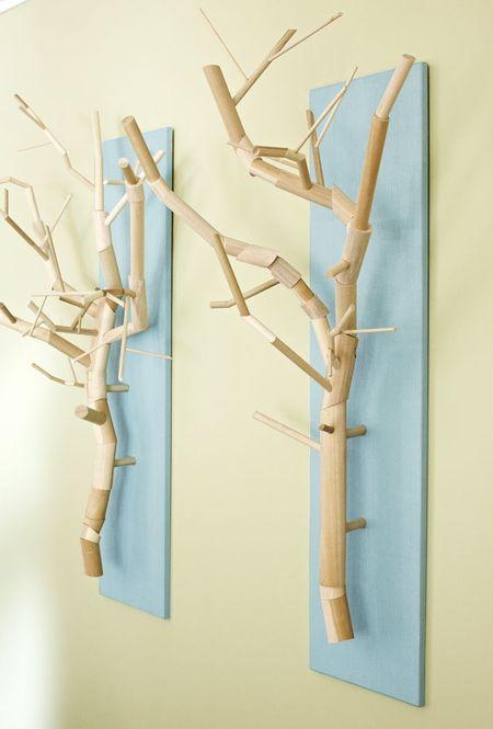 Branch mounted wall art