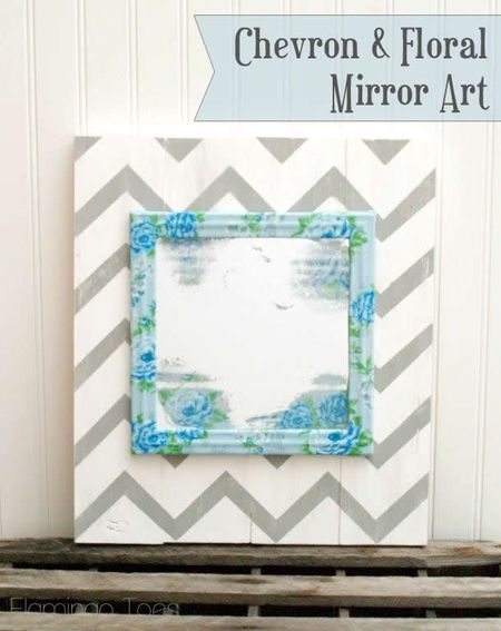 Floral and chevron mirror