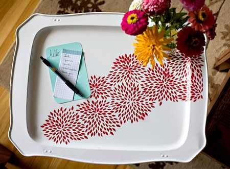 Floral tray table