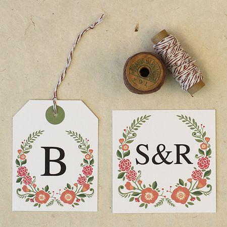 Floral favour labels