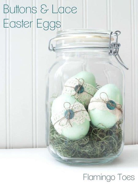 Eggs buttons and lace for Easter