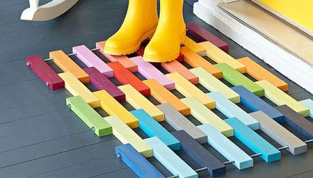 Bold wooden door mat