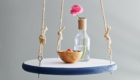 Hook and eye round hanging shelf diy